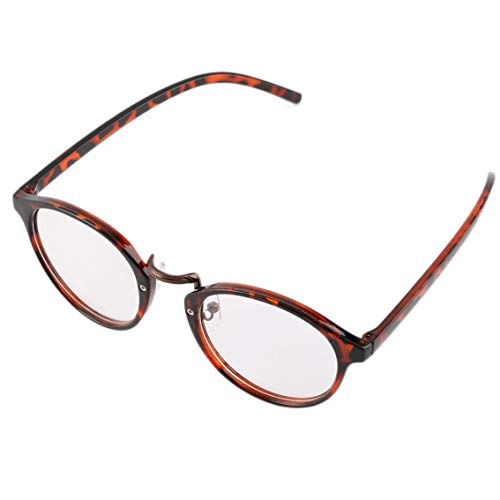 contifan Hombre Mujer Clásico Geek Vintage Marco Grande Moda Gafas de Lentes Transparentes Redondas-Estampado de Leopardo