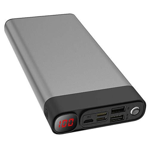 Externer Akku 30000mAh Powerbanks Mobiles Portable Ladegerät Die kann Nicht nur Ihr Handy Aufladen sondern sie ist auch kompatibel mit Spielkonsole(Bitte reißen Sie die Schutzfolie ab)(Grau_30000mAh)