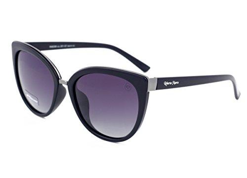 Roberto Marco - Gafas de sol polarizadas para mujer, marco de plástico negro, lentes grises antideslumbrantes, filtro de categoría 3, protección UV400