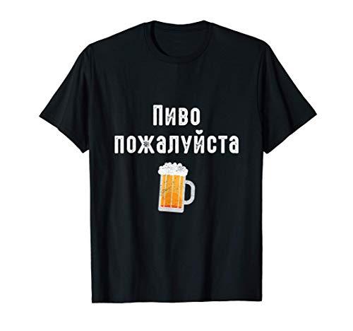 Ein Bier bitte auf russisch Russische Kyrillische Schrift T-Shirt