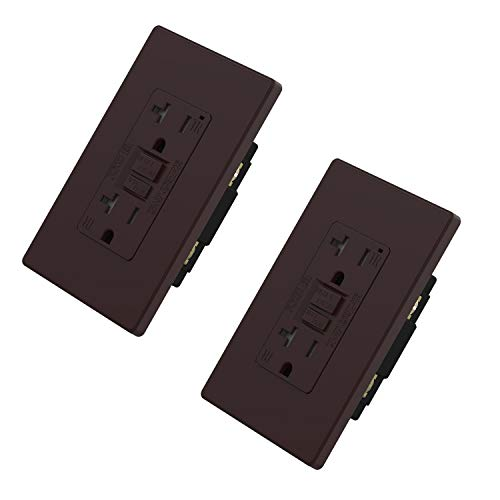 ELEGRP 20 Amp GFCI Outlet, 5-20R Narrow Design GFI Dual Receptacle, TR Tamper Resistant with LED Indicator, Self-Test Ground Fault Circuit Interrupters with Wall Plate, UL Listed (2 Pack, Matte Brown)