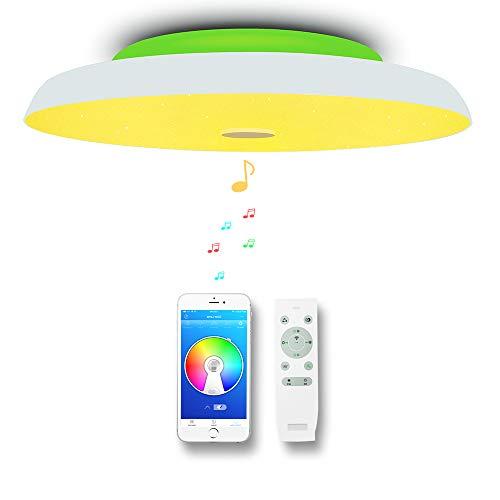 CHYSONGOODS (Aktualisierte) 48W 50CM 19.7 Inch Rund Deckenleuchte LED Mit Bluetooth Lautsprecher App Fernbedienung Dimmbar Farbwechsel Deckenlampe Schlafzimmer Bad Wohnzimmer