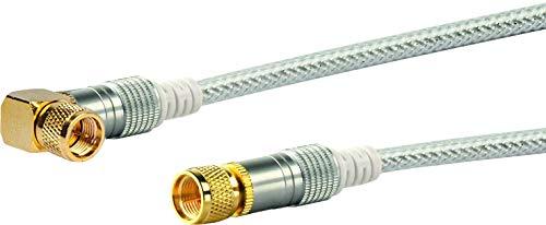 Schwaiger SAT-Winkelanschlusskabel (5 m, 90 Grad F-Stecker auf F-Stecker, 110dB, 4-Fach, vergoldete Rädelmutter) transparent