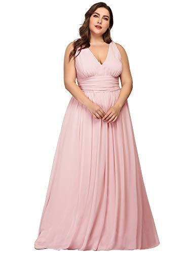 Ever-Pretty Womens Ruched Chiffon Long Maxi Summer Casual Party Maxi Dresses Plus Size Pink US 16