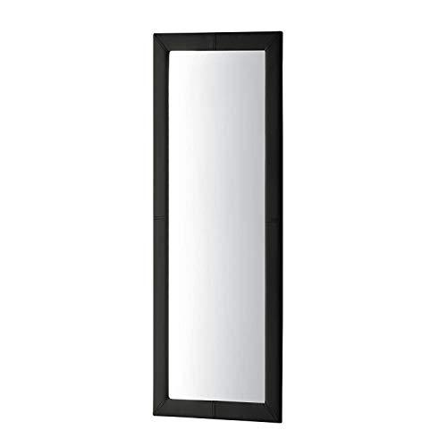 Adec - Espejo de pared tapizado, espejo rectangular cuerpo entero salón, recibidor, comedor, dormitorio, acabado en símil piel color Negro, Medidas 160x60x3 cm de Fondo