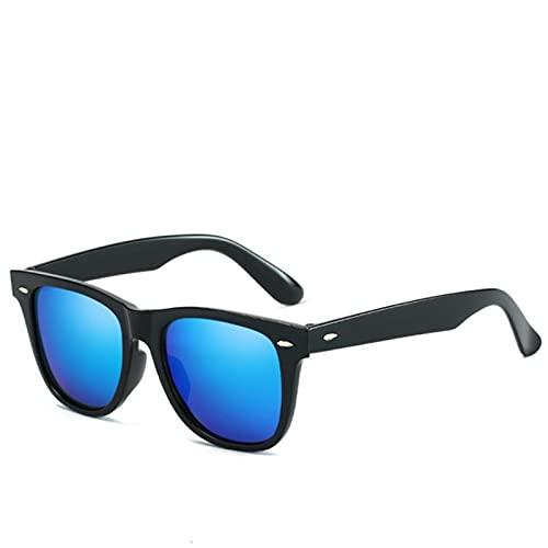 UKKD Gafas De Sol Moda Antirreflectiva Gafas De Sol Hombres/Mujeres Classic Rectangle Black Mirror Gafas De Sol para Hombres/Mujeres-Silver