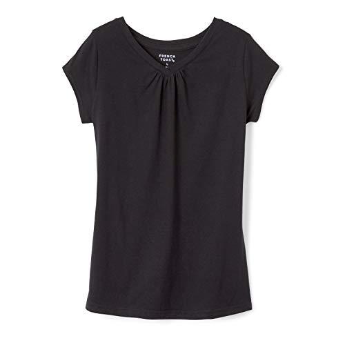 French Toast Toddler Girls' Short Sleeve V-Neck T-Shirt, Black, 2T