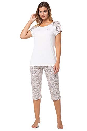 e.FEMME® Pijama para mujer Sonia K-1921 de viscosa Color crudo/Estampado Floral 50