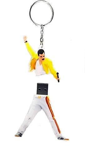 Freddie Mercury USB 3.0 32GB & Portachiavi Freddie Mercury Queen Pendrive 3.0 Freddie Mercury bohemian rhapsody gadget idea regalo unità di memoria flash Penna Disk Pen Drive alta velocità SUPERSPEED
