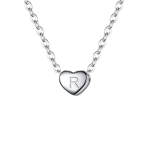 Clearine 925 Sterling Silver Tiny Initial Heart Necklace for Women Pendant Choker Necklace for Girls Letter R Clear Silver-Tone