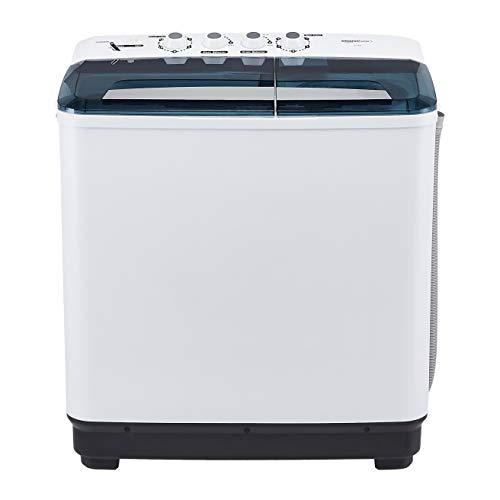 AmazonBasics 8 kg Semi-automatic Washing Machine (with Heavy wash function, White/Blue color)