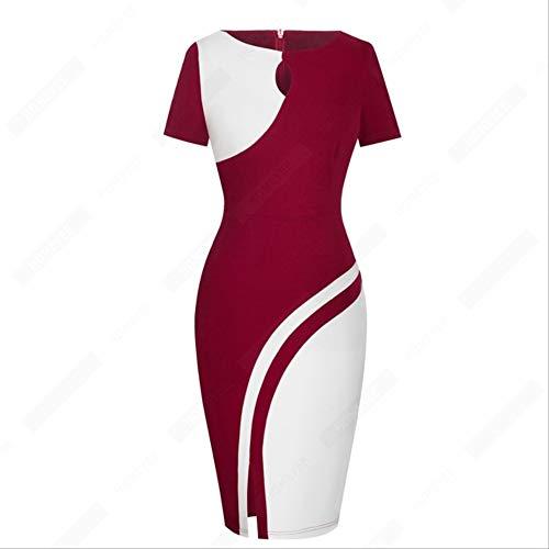 QUNLIANYI Abendkleid Abiballkleid Frauen Sexy Side Split Patchwork Schlankes Kleid Vintage Business Bodycon Kleid Sommer S Dunkelrot