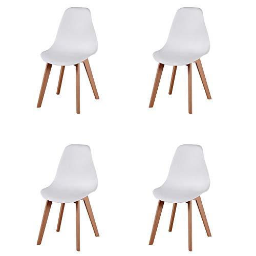 Comfortableplus Set di 4 sedie da Pranzo Stile Mid Century Moderno Stile Nordico con Gambe in Legno massello, Ideale per Soggiorno, Sala da Pranzo, caffè, ect (Bianca)