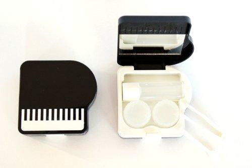Kontaktlinsenbehälter Aufbewahrungsbehälter Etui Set Spiegel süßes Klavier Schwarz