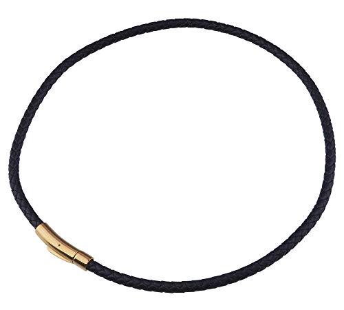 aBALENT(アバレント)レザーチョーカー 5mm ネックレス紐だけ 革紐 ネックレス 皮紐 レザーネックレス 本革 かわ 編み込み 黒 ブラック 首輪 簡単装着 スポーツネックレス (45)