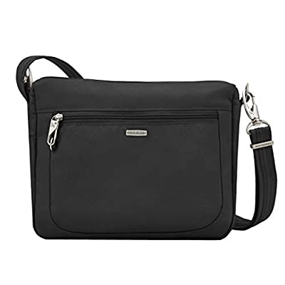 Travelon 42457 Anti-Theft Classic Essential Messenger Bag with Leather Credit Card Holder Wallet