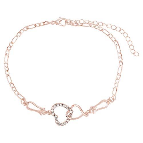 Holibanna Women Crystal Heart Charm Bangle Bracelet Adjustable Stackable Wrap Wrist Chain Bracelet Jewelry
