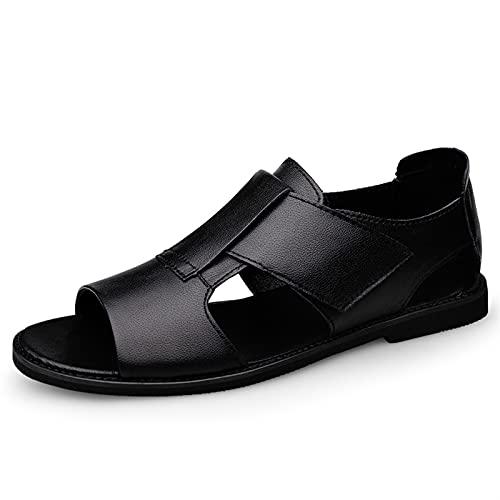 L-YIN Sandalias Casuales de los Hombres Slip de Cuero Genuino en Corte Abierto Zapatos de Punta Ligera Pulgada Pulgada Grifo de Color sólido Sandalia de Playa 38-45 (Color : Black, Size : 43 EU)