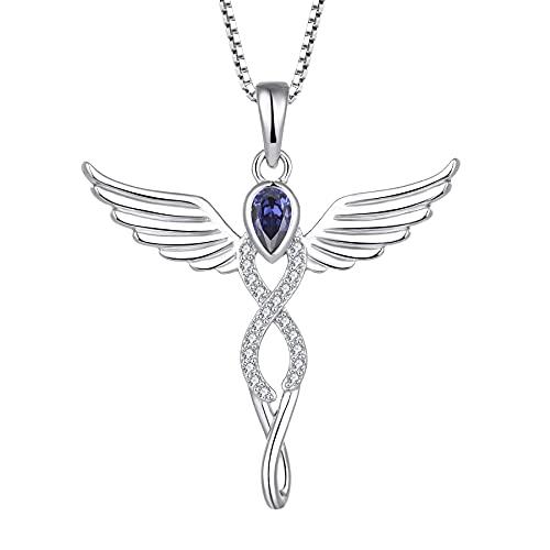 FJ Collar con colgante de ángel con forma de cruz y colgante de ángel de la guarda, plata de ley 925 con piedra natal y...