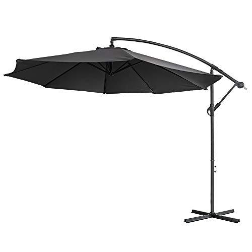 Aufun Alu Sonnenschirme 300cm mit kurbel UV Schutz 40+ - Dunkelgrau balkonschirm gartenschirm höhenverstellbarer (Dunkelgrau)