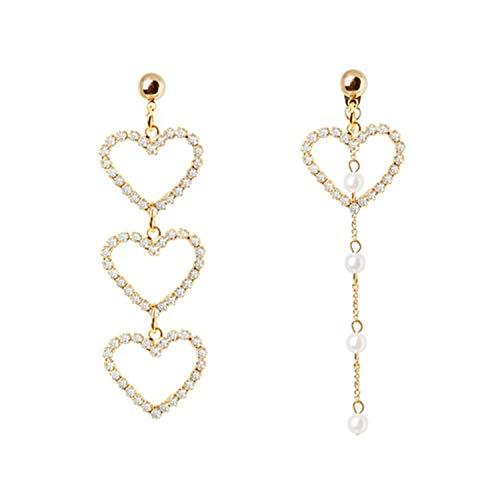 Presock Pendientes Mujer,Aretes Women\'s Fashion Long Statement Earrings Asymmetry Simulated-Pearl Beaded Heart Crystal Metal Chain Tassel Drop Earrings Jewelry Silver Plated
