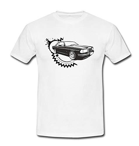 T-Shirt w123 Coupé 230E 280E Auto Youngtimer Oldtimer Classic Car Automotiv weiß/schwarz Gr. 3XL