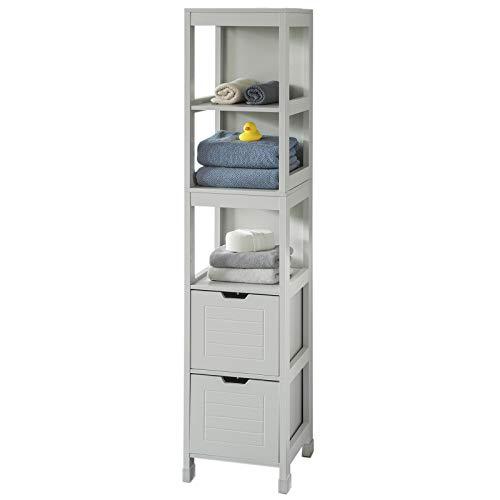 SoBuy FRG126-HG Mueble Columna de baño Armario para baño-3 estantes y 2 Cajones ES (Gris)