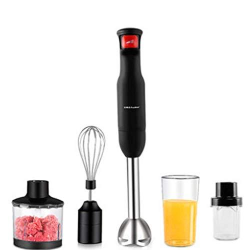 Edelstahl-Stabmixer (800 Watt Mixer Zerhacker Schneebesen und Küchenmaschine inkl. 4-teiliges Zubehör) Handmixer-Set Stabmixer Mixer Handmixer Schwarz