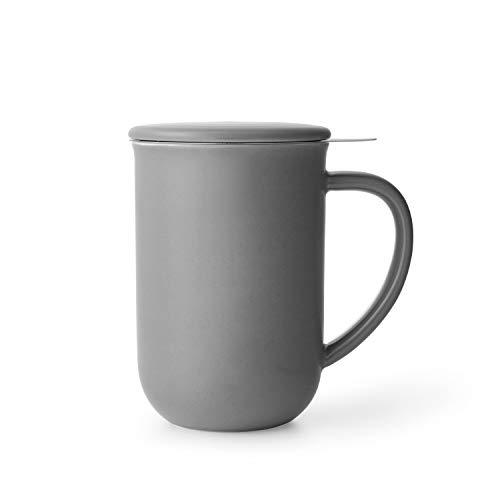 VIVA scandinavia Porzellan Tee-Tasse mit Teesieb für losen Tee und Deckel, Kaffee-Becher mit Henkel, 0,55 Liter, Grau