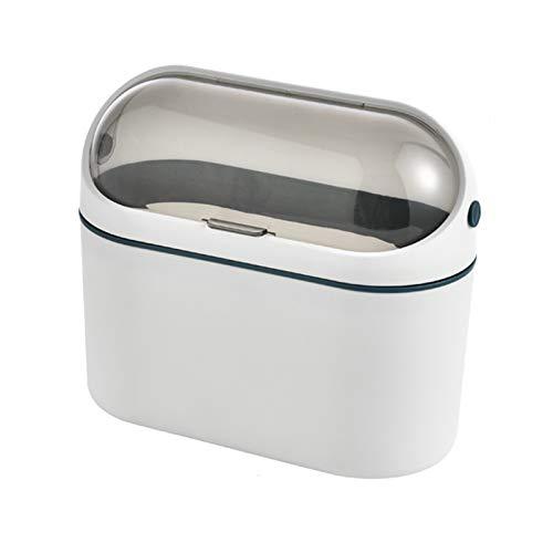 La basura de la mesa de escritorio para el hogar puede colgar la papelera para la puerta del gabinete con la tapa de la bandeja de la bata de la pelota de la pared pequeña para el baño del dormitorio