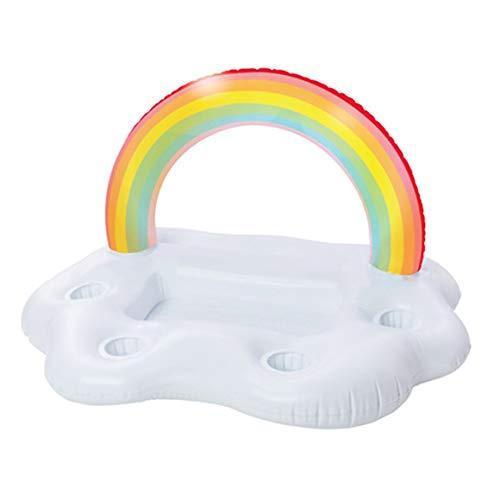 Summer Party Bucket Rainbow Cloud Portavasos Inflable Piscina Flotador Cerveza Beber Enfriador Mesa Bar Bandeja Playa Anillo de natación Paperllong®