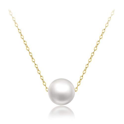 Collar Mujer Colgante 18inch Collar de Oro 18K Cadena Blanco Perla Colgante Collar de Perlas de Agua Dulce de 8 mm de Mujeres Collares