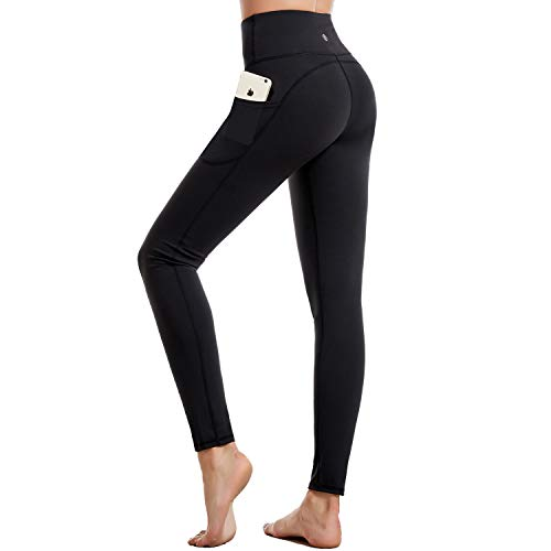 CAMBIVO Women's High Waist Yoga Pants with Pockets, Non See Through Workout Leggings, Stretchy Tummy Control Workout Pants (Black,Medium) by