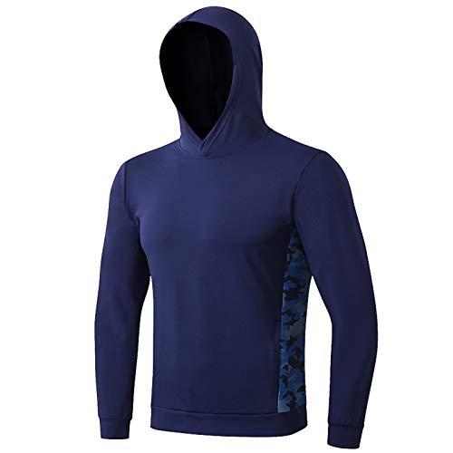 WSLCN Herren Kapuze Pullover Fitness Sport Shirts Stretch Schnelltrocknungs Training Shirt Langarm Pulli Marine Blau Top DE XL (Asie XXL)