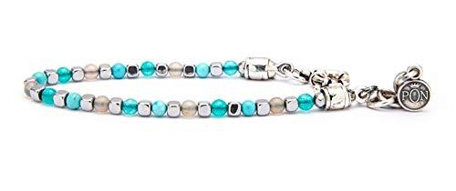 PORTONOVO Pulsera de una vuelta para hombre con piedras cubeto 4 mm Tiffany, turquesa y perla con plata fusión BRA 04_2428