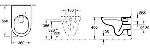 Villeroy & Boch Wand-WC O.Novo mit Sitz, Directflush und ohne Spülrand, 1 Stück, 5660HR01 - 5