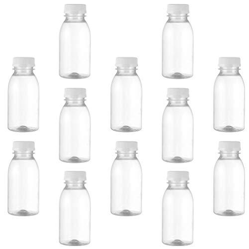 PIXNOR 12 Botellas de Plástico Botella de Leche Transparente Botellas de Bebida para Jugo Agua de Leche Bebidas de Yogurt