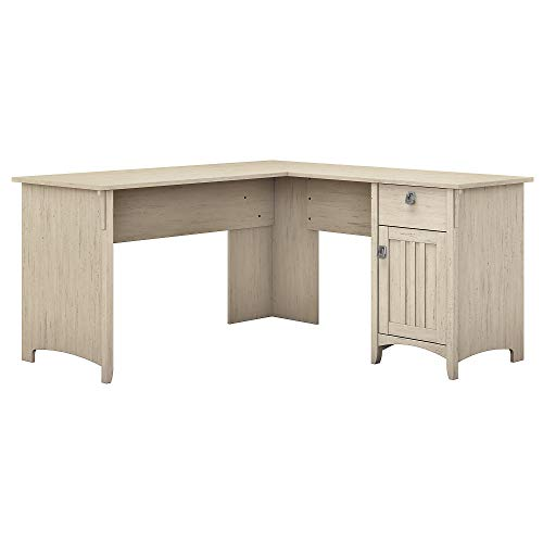 Bush Furniture Salinas L Shaped Desk with Storage in Antique White