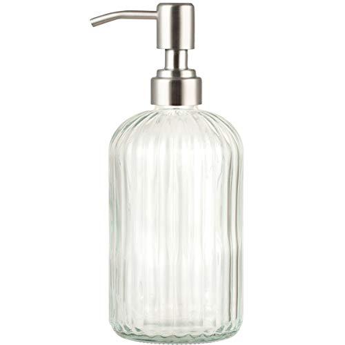 Dispensador de jabón de cristal Plomkeest de 14 oz con dispensador de...