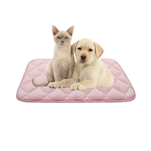 furrybaby Dog Bed Mat Soft Crate Mat with Anti-Slip Bottom Machine Washable Pet Mattress for Dog Sleeping (S 26x18'', Pink Mat) Bed Mats