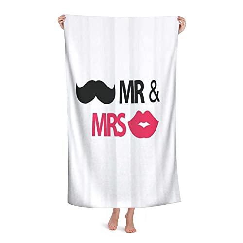 Grande Suave Ligero Toalla de Baño Manta,Salón Boda Recién Casados Mr Mrs...