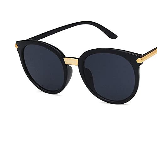 Color Yun 15991 Gafas de Sol para Hombre Mujer Gafas de Sol Retro polarizadas Semi sin Montura (Negro) C1