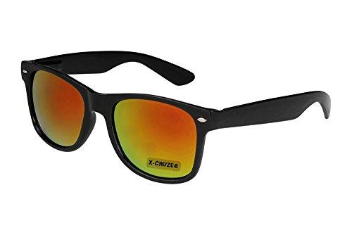 X-CRUZE® 8-054 Nerd Sonnenbrille Unisex Herren Damen Männer Frauen Brille Nerdbrille Retro Vintage - schwarz und rot-orange verspiegelt