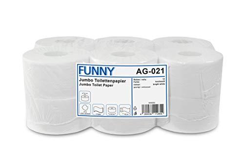 Funny Jumbo - Toilettenpapier 2 lagig, hochweiß, Durchmesser circa 18 cm, 1er Pack (1 x 12 Stück)