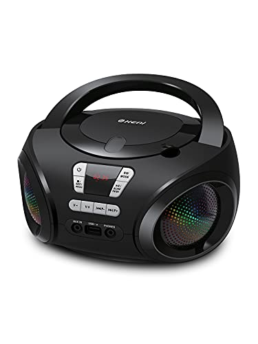 G Keni Portable CD Player Boombox Radio FM Bluetooth MP3/USB Music Playback with AUX Input and Phone Jack, Enhanced Bass with Light, Audio Player Black