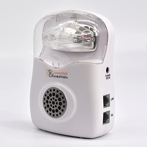 Akustischer und visueller Telefonanruf mit Stroboskoplicht und einstellbarer Klingelstärke (Niedrig/Hoch/Aus) — geeignet für laute Umgebungen und schwerhörige — CEA-20 von Connected Essentials