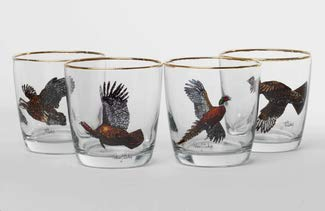 Hunting & Wildlife Series, 4pc Upland Gamebirds; Classic Tapered Old Fashioned; 9oz Glasses
