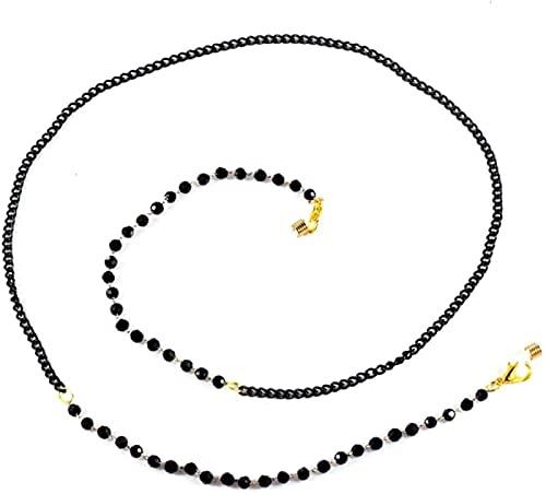 ASDF Paquete de 5 gafas de sol con cuentas negras con cadena de cuello antideslizante para gafas de sujeción de cordón para mujeres y hombres