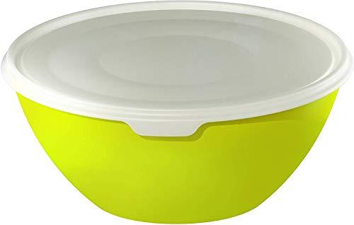 Rotho Caruba Schüssel 8 l mit Deckel, Kunststoff (BPA-frei), grün/transparent, 8 Liter (35,5 x 35,5 x 15,5 cm)