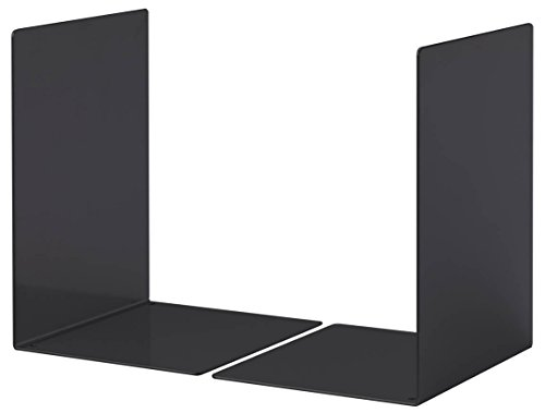 Durable 324401 Apoya-libros Metal L, set de 2, negro